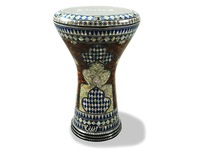 "Дарбука (Gawharet El Fan Darbuka) - The Blue Shield"" 17"" Mother of Pearl Darbuka"